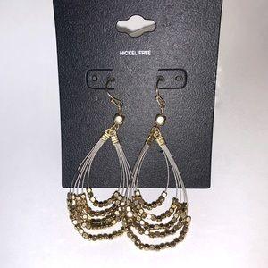 ⭐️2/$12 Gold tone BEADED wire Loop EARRINGS